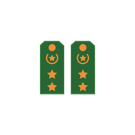 Flat style cartoon pair of military shoulder straps, regimental insignia, vector illustration isolated on white background. Flat vector icon of green military shoulder straps, marks, stars Illustration