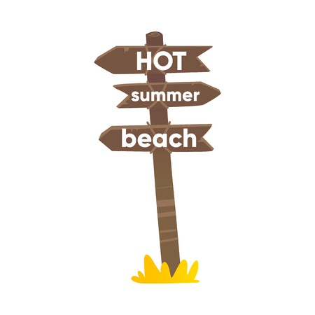 Wooden sign, road post with three boards, planks showing direction to beach, flat cartoon vector illustration isolated on white background. Flat cartoon wooden road sign with three planks
