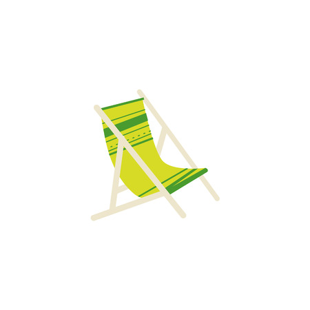 Stylized flat cartoon vector illustration of striped lounge chair, tanning bed - summer beach vacation symbol, isolated on white background. Cartoon lounge chair, tanning bed for relaxing on the beach