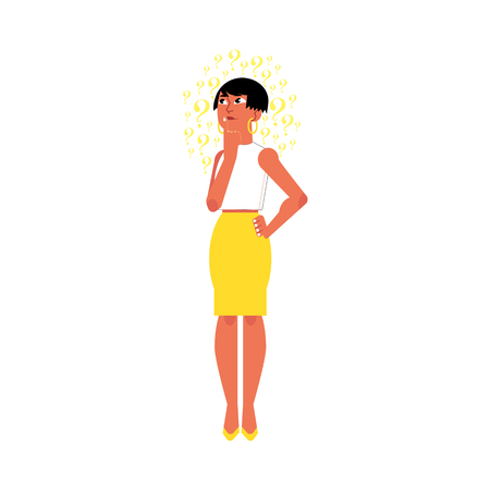 Vector flat young cute caucasian adult woman in yellow skirt. Beautiful character standing thoughtful pose holding chin thinking with questions above head. Isolated background illustration 向量圖像