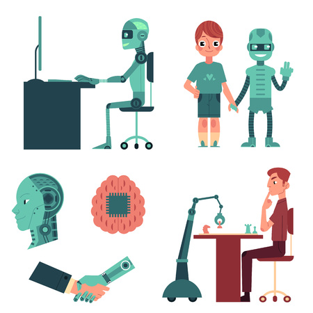 Artificial intelligence set - robot as companion, friend, android head, cyborg playing chess, working on computer, shaking hands with human, cartoon vector illustration isolated on white background Иллюстрация