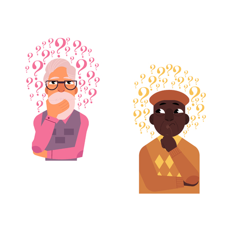 Vector cartoon adult african black, caucasian grey-haired old senior man standing in thoughtful pose holding his chin thinking with questions above head portrait. Isolated background illustration