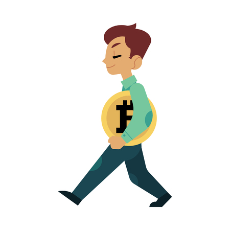 Vector flat bitcoin, mining concept. Male young character, happy businessman in suit, miner walking holding big golden coin. Isolated illustration on a white background
