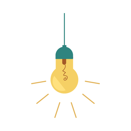 Vector flat light bulb lighting lamp icon. Business idea, electric energy, creative solution, invention power concept. Isolated illustration on a white background.