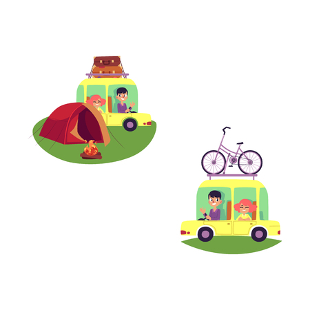 vector flat people in vintage minivan vehicle with bags at roof man girl in car camping tent, bonfire, male female character in car with bicycle at roof. Road travelling concept. Isolated illustration Ilustracja