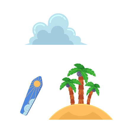 Vector flat travelling, beach vacation symbols icon set. Summer holiday rest elements - sand island with palm, surf with sun print, clouds. Isolated illustration, white background
