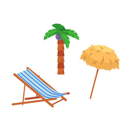 Vector flat travelling, beach vacation symbols icon set. Summer holiday rest elements - lounger, palnm, sunshade sun straw umbrella. Isolated illustration, white background