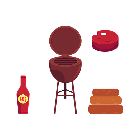 Vector flat barbecue, bbq symbols set. Meat steak, ketchup in red bottle, coal grill, charcoal icon. Restaurant menu design elements, isolated illustration on a white background