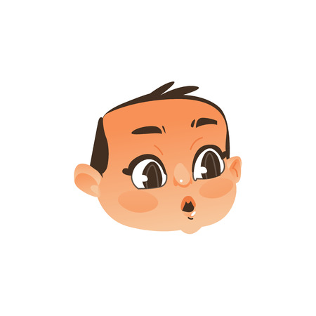 Comic baby face, head with wide open eyes and mouth showing surprise, flat vector illustration isolated on white background. Flat, comic style emoticon, emoji of baby boy head, face showing surprise