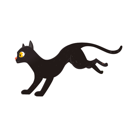 Cute fluffy black cat running, side view portrait, flat cartoon vector illustration isolated on white background. Black cat character, mascot running, jumping, playing