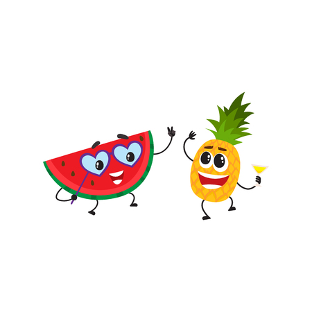 Vector flat fruit characters summer party set. funny happy watermelon in fancy heart glasses, pineapple holding cocktail glass. Summer vacation, party poster. Isolated illustration, white background.