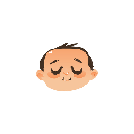 Comic style sleeping baby face, head icon with closed eyes, flat vector illustration isolated on white background. Flat, comic style emoticon, emoji sleeping newborn baby boy head, face