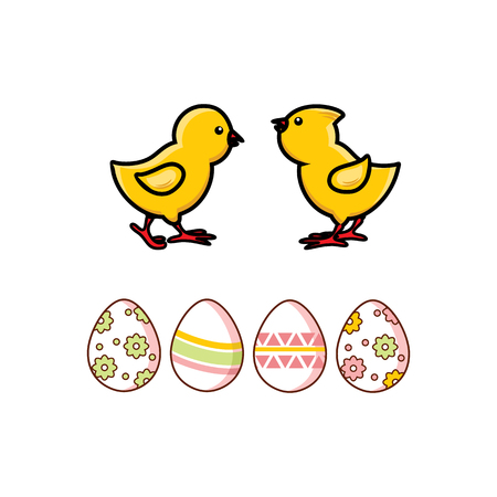 Vector flat easter chicken eggs and yellow chicks icon set. Spring holiday, poultry farm organic food symbols for your design. Isolated illustration on a white background