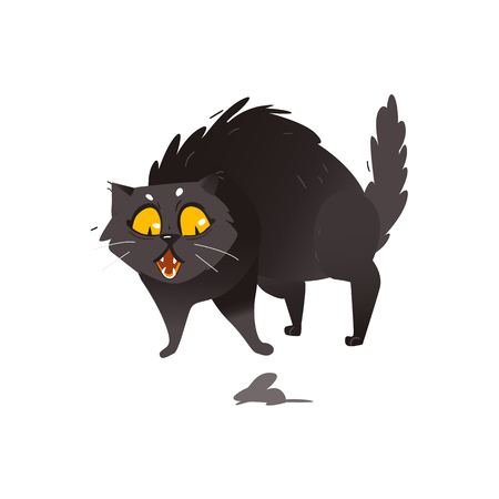 Cute fluffy fat black cat scared of little mouse, showing hackles, flat cartoon vector illustration isolated on white background. Fat black cat character, mascot scared of, frightened by mouse
