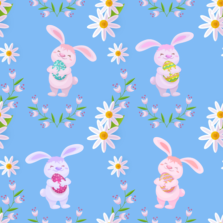 Vector easter holiday seamless pattern with spring festive elements - Easter bunny, decorated eggs and daisy flowers with leaves. Flat style illustration on green background Illustration