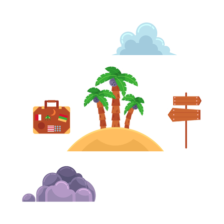 Vector flat travelling, beach vacation symbols icon set. Summer holiday rest elements - sand island with palm, wooden sign with direction, travel bag clouds. Isolated illustration, white background Ilustrace