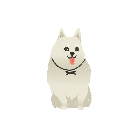 Cute fluffy little dog sitting straight with tongue out, front view portrait, flat cartoon vector illustration isolated on white background. White fluffy dog, puppy character sitting Stock Illustratie