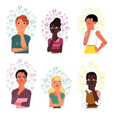 Satz Leute, Männer und Frauen, schwarzes und kaukasisches Denken umgeben durch viele Fragezeichen, Karikaturvektorillustration lokalisiert auf weißem Hintergrund. Porträts denkender Menschen mit Fragezeichen
