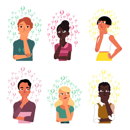 Set of people, men and women, black and Caucasian thinking surrounded by many question marks, cartoon vector illustration isolated on white background. Portraits of thinking people with question marks Ilustração