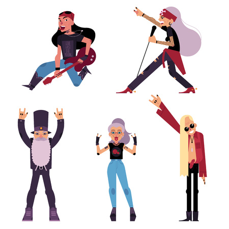 Set of old, elder, senior rock musicians, singers, guitarist, cartoon vector illustration isolated on white background. Set of elder old rock band participant, singer, bandleader, guitarist characters Иллюстрация