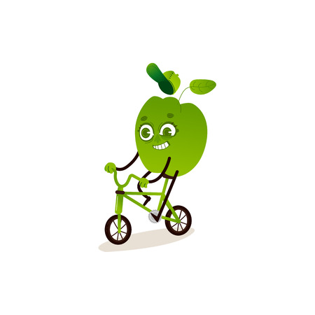Green bell pepper with smile on his face is riding two-wheeled bicycle. Isolated on white background. Cartoon character. Flat colorful vector illustration. For healthy lifestyle banner, card, poster. Ilustração