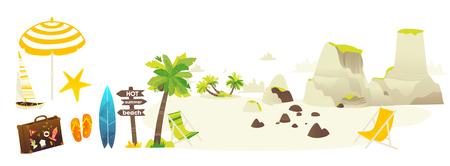 Flache Reisetasche des Vektors, Strandferien-Ikonensatz. Sommerferienhefterzufuhren surfen Sandinsel mit Palme, hölzerne Wegweisersonnenschirmruhesessel-Yachtsteine. Isolierte darstellung Standard-Bild - 97189399