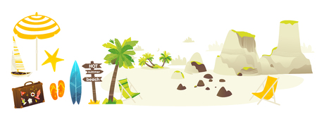 Vector flat travelling bag, beach vacation icon set. Summer holiday slippers surf sand island with palm, wooden direction sign sun umbrella lounger yacht stones. Isolated illustration