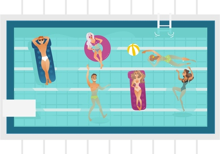 Vector cartoon people swimming in rectangle pool with blue tile walls water. Vacation summer travelling and holiday concept. Male female character having fun. Isolated illustration white background