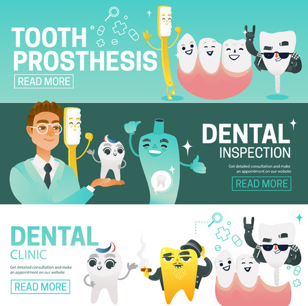 Set of horizontal web banners with such dental elements as dentist, teeth, prosthesis, toothbrush, toothpaste and jaw. Copy space. Flat colorful vector illustration. For dental clinic banner, poster. Ilustração