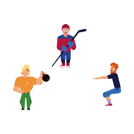 Vector flat adult men doint exercises, sports set. Male characters in casual athletic clothing doing squat, kettlebell workout, man playing ice hockey in protective equipment. Isolated illustration