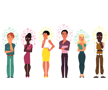 Vector cartoon adult african black, caucasian people thinking set. Men, beautiful women standing in thoughtful pose thinking with questions above head portrait Isolated background illustration