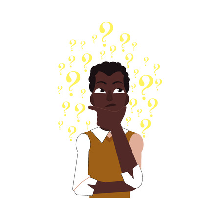 Vector cartoon adult african black man standing in thoughtful pose holding his chin thinking with questions above head portrait . Isolated illustration on a white background Illustration