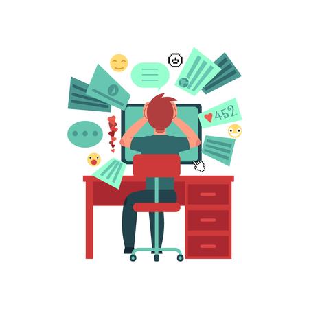 Joven se sienta detrás de la mesa con monitor de la computadora. Sobrecarga de datos. Demasiada información en la red. Aislado sobre fondo blanco Personaje animado. Ilustración de vector plano colorido Ilustración de vector