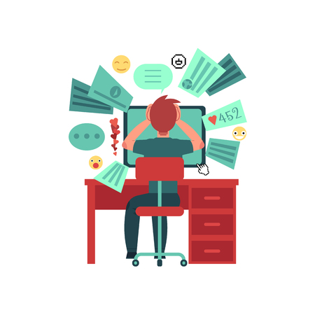 Young man sits behind the table with computer monitor. Overload of data. Too much information in network. Isolated on white background. Cartoon character. Flat colorful vector illustration. Illustration