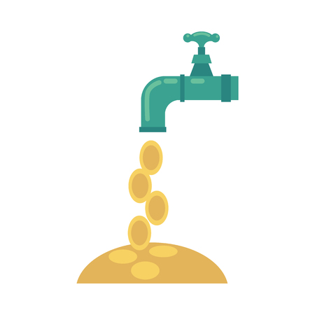 Vector flat water tap with golden coins falling from it icon. Business success, achievement, financial banking, money profit flow symbol. Isolated conceptual illustration on a white background