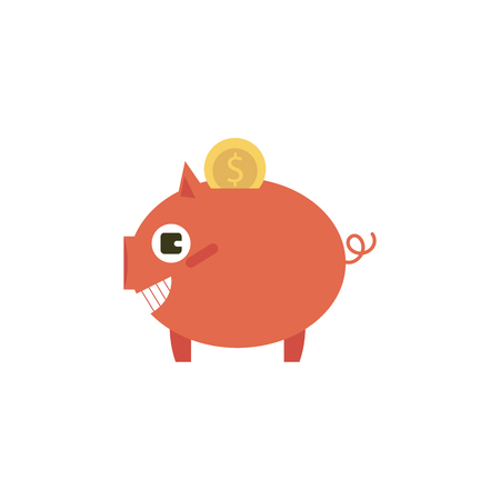 Vector flat money box, pig earnings save object, home investment bank tool with golden coin icon. Isolated illustration on a white background.