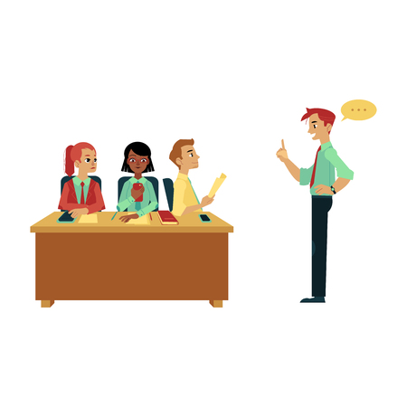 Vector business briefing, meeting or conference concept. Flat male female office workers, man woman managers discussing. Communication, teamwork illustration isolated on a white background.