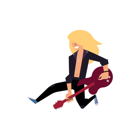 rock musician, guitar player jumping happily on stage, cartoon vector illustration isolated on white background. Full length portrait of old rock musician jumping on stage with electric guitar