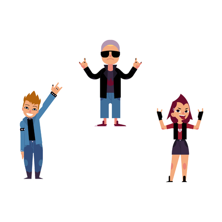 Vector flat rock music, culture people set. Heavy metal, punk rock style clothing, haircut elderly old woman in sunglasses, young girl man with mohawk showing rock sign. Isolated illustration