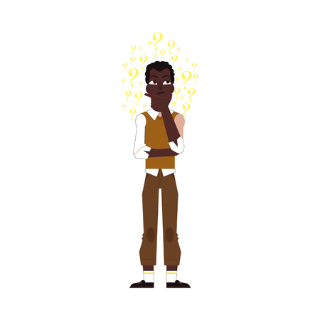 Vector flat adult african black man standing in thoughtful pose holding his chin thinking with questions above head. Isolated illustration, white background