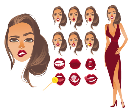 Vector cartoon sexy woman mouth lips faces creation set. Red lipstick makeup glamour fashion style glossy sensual mouth girl in red dress. Isolated illustration on a white background. Standard-Bild - 97155273