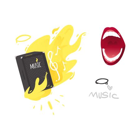 Vector flat music symbols set. Guital amplifier, louspeaker burning with yellow fire, singing mouth, note, i love music inscription. Heavy metal, hard classic punk rock culture. Isolated illustration Ilustração