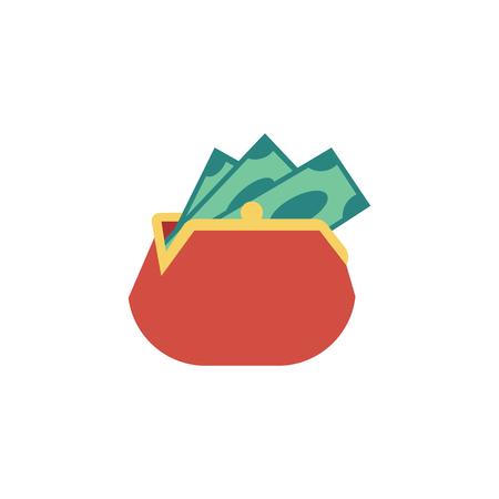 Portefeuille plat rouge de vecteur, sac à main avec billet d'argent dollar. Finance d'entreprise, crédit de prêt bancaire, symbole d'épargne et de paiement. Illustration isolée sur fond blanc. Vecteurs