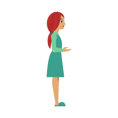 vector flat adult woman in green dress reaching out hand isolated. Isolated illustration on a white background. Full lenght portrait.