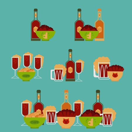 Collection of different sets with light and dark beer in bottles, glasses with snacks, sausages, chips, crackers in bucket. Flat colorful vector illustration. For party banner, card, invitation. Illustration