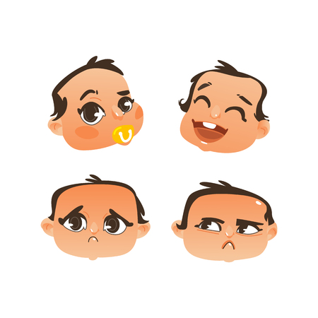Vector flat baby face with facial expression set. dissapointed unhappy crying, curious child sucking nipple, happy smiling laughing offended emotions. Cartoon character portrait. Isolated illustration