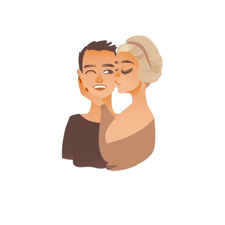 Cartoon young couple kissing. Young blonde girl kissing happy smiling man in cheek. Male female character in love, beautiful woman, handsome boyfriend. Valentine card design vector illustration Ilustrace