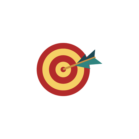 Vector flat icon with arrow in center, bulls eye