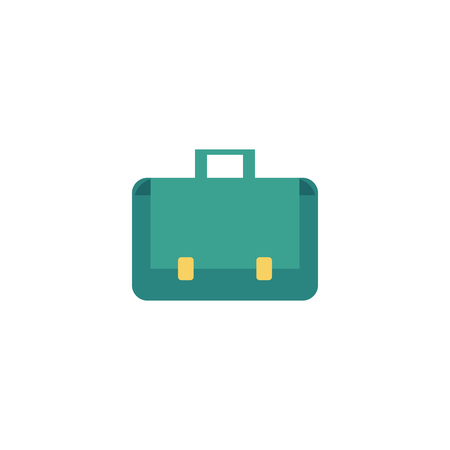 Vector flat briefcase, business case, bag icon. Luggage, baggage suitcase, businessman office worker manager attribute. Isolated illustration on a white background Иллюстрация