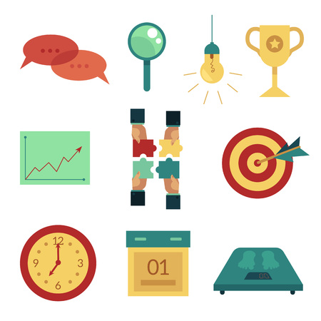 Vector flat business symbols icon set. darts target dashboard, magnifier, light bulb, champion prize graph chart, watch weight scales, calendar hands with puzzle Isolated illustration white background